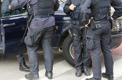 F policeman in riot gear during a roadblock to control the terro Stock Photo