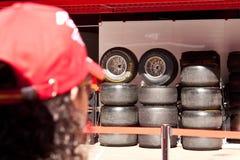 F1 prado Barcelona, neumáticos Imagen de archivo libre de regalías