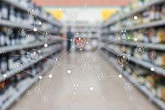 F?r E-kommers f?r marknadsf?ring f?r detaljhandel f?r struktur f?r shoppingvagn bakgrund suddig supermarket royaltyfri illustrationer