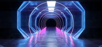 F?r Glowoing f?r fr?mmande f?r skepp virtuell verklighetCyberSci Fi f?r futuristiskt neon gl?dande f?r utrymme korridor f?r tunne stock illustrationer