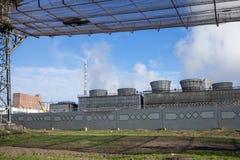 f?r oljef?r?dling f?r utrustning industriell nyast zon royaltyfria bilder