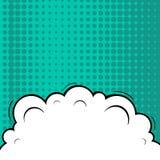 F?r popkonst f?r abstrakt id?rikt begrepp komiskt mellanrum f?r stil, orienteringsmall med molnstr?lar och isolerad prickbakgrund vektor illustrationer