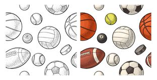 F?r sortsport f?r s?ml?s modell olika bollar Gravyr f?r tappningf?rgvektor vektor illustrationer