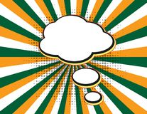 F?r textanf?rande f?r klar tom bang komisk pop Art Style f?r bubbla p? orange solstr?lbakgrund Retro komiska tomma anf?randebubbl royaltyfri illustrationer