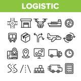 F?r vektorsymboler f?r global logistisk avdelning linj?r upps?ttning royaltyfri illustrationer