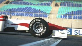 F1 race car crossing finish line