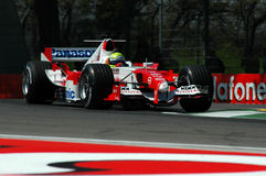 22 April 2005, San Marino Grand Prix of Formula One. Ralph Schumacher drive Toyota F1 during Qualyfing session on Imola Circuit. In Italy Royalty Free Stock Images