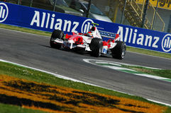 22 April 2005, San Marino Grand Prix of Formula One. Ralph Schumacher drive Toyota F1 during Qualyfing session on Imola Circuit. In Italy Stock Images