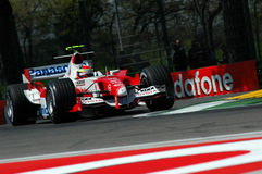 22 April 2005, San Marino Grand Prix of Formula One. Ralph Schumacher drive Toyota F1 during Qualyfing session on Imola Circuit. In Italy Royalty Free Stock Photos