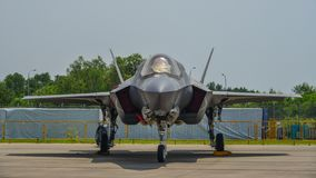 F-22 Raptor aircraft in Changi, Singapore royalty free stock photo