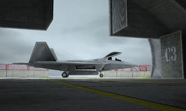 F 22 raptor , american military fighter plane. Militay base, hangar, bunker Stock Photo
