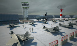 F 22 raptor , american military fighter plane. Militay base, hangar, bunker Stock Image
