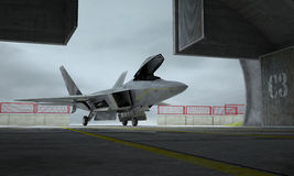 F 22 raptor , american military fighter plane. Militay base, hangar, bunker Stock Photos