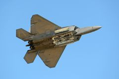 F-22 Raptor au grand salon de l'aéronautique de la Nouvelle Angleterre Image stock