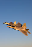 F-22 Raptor flies in formation with other aircraft - F-15, F-16 and A-10. Royalty Free Stock Photos