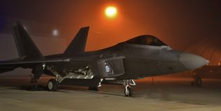F-22 Raptor at Night Stock Images