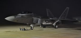 F-22 Raptor at Night Stock Photo