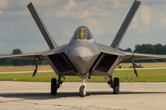 F-22 Raptor on the Runway. F-22 Raptor air Dominance on the Tarmac stock photo