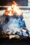 f?rbereder saftig meat f?r brand skivor fotografering för bildbyråer