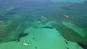 F?rbluffa flyg- landskap f?r surr av det charmiga omr?det av Es Trencs och fartygen med ett turkoshav spain arkivfilmer
