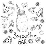 F?rga, svartvita diagram p? b?r, frukter och sunda drinkar royaltyfri illustrationer