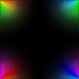 F?rgade cirklar, bollar p? en svart bakgrund isoleras Stilfull vektorillustration f?r reng?ringsdukdesign stock illustrationer