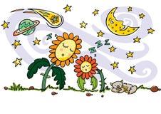 f?rgglad vektorteckning Gulliga sova solblommor, katt, växande måne-, planet-, komet- och skyttestjärnabeståndsdelar stock illustrationer