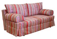 F?rgrik randig soffa p? en vit bakgrund Band av torkduken av r?tt, rosa, choklad och violetta f?rger inkludera arkivfoto