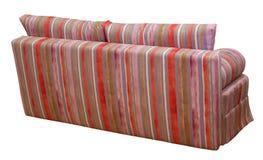 F?rgrik randig soffa p? en vit bakgrund Band av torkduken av r?tt, rosa, choklad och violetta f?rger inkludera arkivfoton