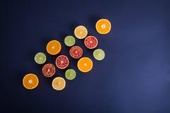 F?rgrika citrusfrukter, apelsiner, blodapelsin, limefrukt och citron royaltyfria bilder