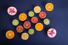 F?rgrika citrusfrukter, apelsiner, blodapelsin, limefrukt och citron royaltyfri bild