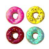 F?rgrika donuts f?r Photorealistic vektor med st?nk, glasyr Ställ in av 4 realstic läckra söta rosa färger, choklad, guling, azur stock illustrationer
