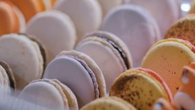F?rgrika macarons st?ller ut in av godisen shoppar stock video