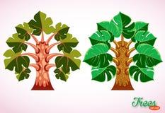 F?rgrika tecknad filmtr?d Fantastiska tropiska växter designelementillustrationen l?ter vara vektorn Isolerat avbilda p? vitbakgr royaltyfri illustrationer