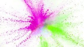 F?rgrikt pulver som exploderar p? vit bakgrund i toppen ultrarapid arkivfilmer