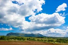 F?rgrikt sommarlandskap i bergen, under en bl? himmel med vita moln royaltyfria foton
