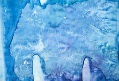 F?rgst?nk av vattenf?rgtextur Original- abstrakt klick, papper, sten, is, utrymme, galax, kosmiskt ljust - bl?a fl?ckar arkivbild