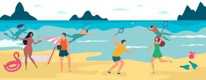F?rias da praia do ver?o Os meninos felizes e as meninas que nadam e que têm tomam sol ilustração do vetor