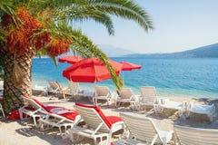 F?rias da praia do ver?o Paisagem de Sunny Mediterranean com os guarda-chuvas de praia vermelhos Montenegro, ba?a de Kotor fotografia de stock royalty free