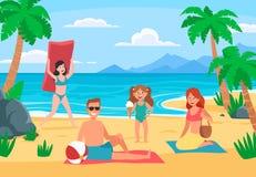 F?rias da praia da fam?lia Família nova com as crianças felizes que tomam sol na praia da areia, vetor dos desenhos animados do l ilustração royalty free