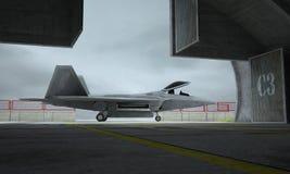 F 22 roofvogel, Amerikaans militair vechtersvliegtuig Militaybasis, hangaar, bunker vector illustratie