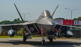 F-22 roofvogelvliegtuigen in Changi, Singapore stock foto