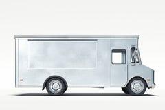 F?rsilvra den metalliska realistiska matlastbilen som isoleras p? vit framf?rande 3d royaltyfri foto