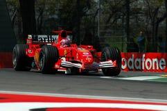22 April 2005, San Marino Grand Prix of Formula One. Rubens Barrichello drive Ferrari F1 during Qualyfing session on Imola Circuit royalty free stock photos