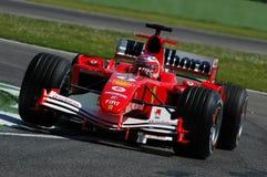 22 April 2005, San Marino Grand Prix of Formula One. Rubens Barrichello drive Ferrari F1 during Qualyfing session on Imola Circuit. In Italy royalty free stock photos