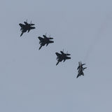 F-15`s breaking formation during Frisian Flag exercise Royalty Free Stock Photos