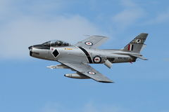 F-86 Sabre deploys speed brake in slow pass Royalty Free Stock Photography