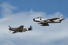 F-86 Sabre and CA-18 (P-51 Mustang) in formation Royalty Free Stock Images