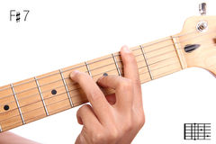 F sharp dominant seventh guitar chord tutorial Stock Images