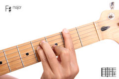 F sharp major guitar chord tutorial Royalty Free Stock Photo
